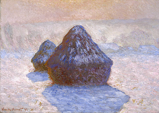 Haystacks,_Snow_Effect_1891_Claude_Monet_NGScotland