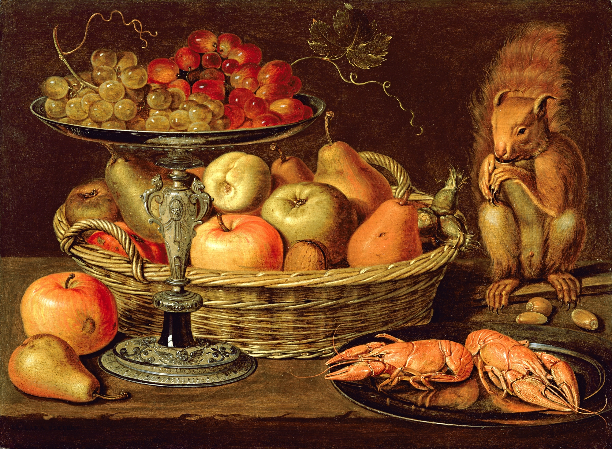 Clara Peeters, Still life with grapes on a tazza, a basket of fruit, two crayfish on a plate and a squirrel, 1613.