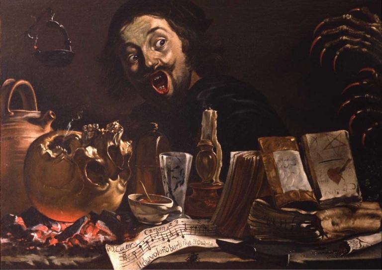 Peter Van Laer, Self-Portrait with Magic Scene, c. 1635–37