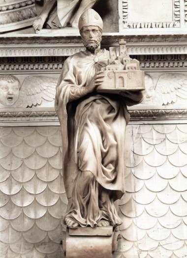 Michelangelo, Saint Petronius, 1494. Marble, 64 cm with base. San Domenico, Bologna.