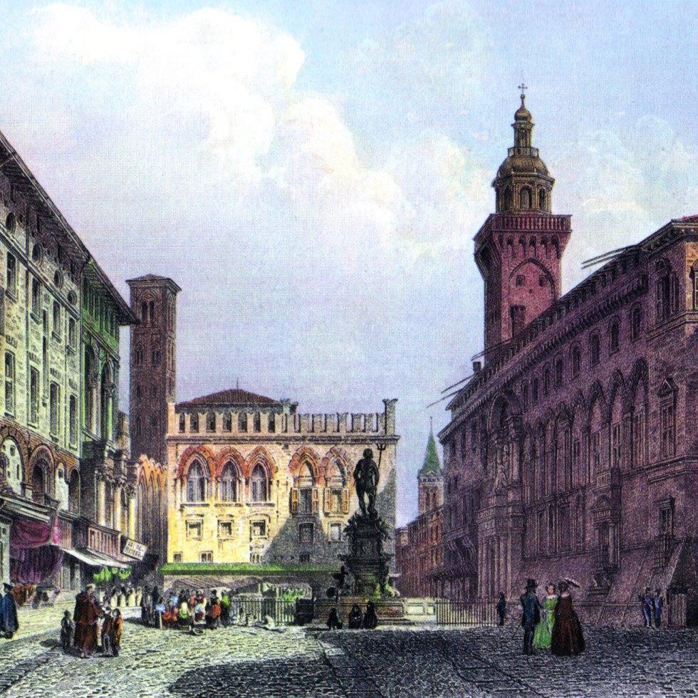 The Piazza Maggiore (main square) in Bologna, around 1855.
