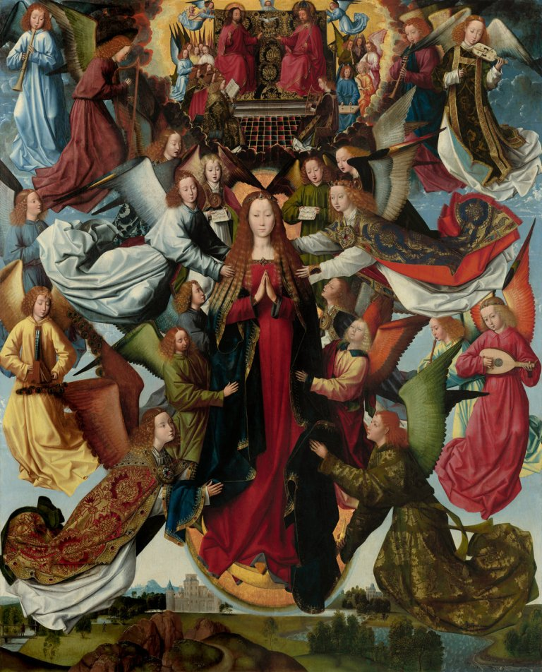 Master of the Saint Lucy Legend, Mary, Queen of Heaven, c. 1485-1500. Oil on panel, 79 5/16 in x 64 1/2 in (201.5 cm x 163.8 cm). National Gallery of Art, Washington, D.C.