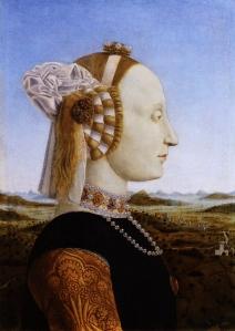 Piero della Francesca, Duchess of Urbino, Wife of Federigo da Montefeltro, 1473.