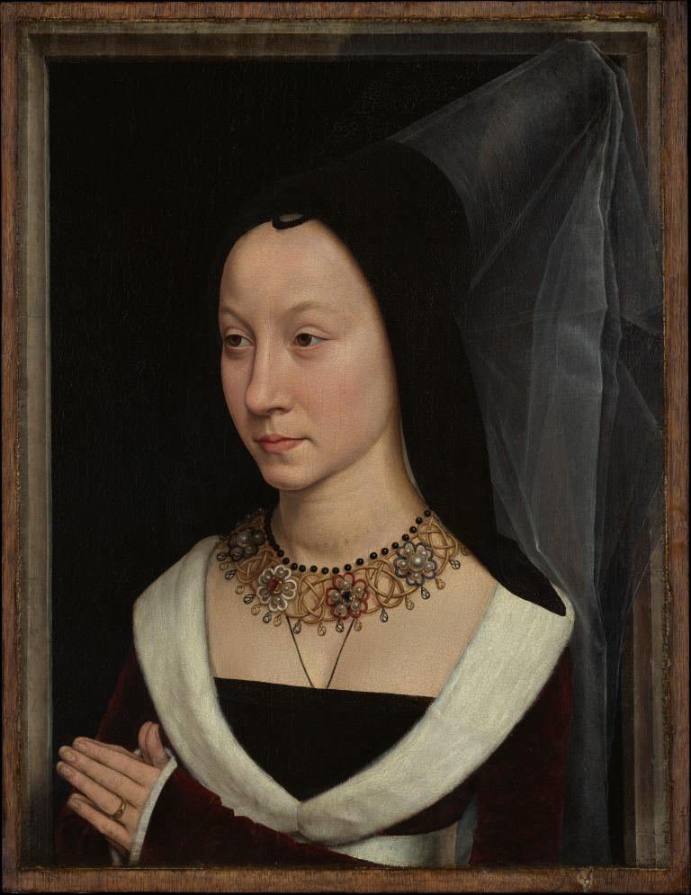 detail of Maria Portinari from Tommaso di Folco Portinari (1428–1501); Maria Portinari (Maria Maddalena Baroncelli, born 1456), c. 1470.