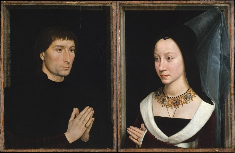 Hans Memling, Tommaso di Folco Portinari (1428–1501); Maria Portinari (Maria Maddalena Baroncelli, born 1456), c. 1470. Oil on wood, 17 3/8 x 13 1/4 in. (44.1 x 33.7 cm) each. The Metropolitan Museum of Art, New York.