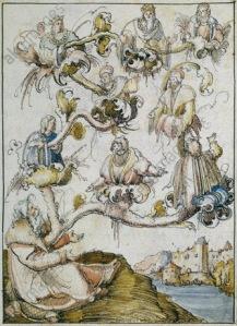 Albrecht Altdorfer (attributed), Habsburg Family Tree, from Historia Friderici et Maximiliani, c. 1508-10.