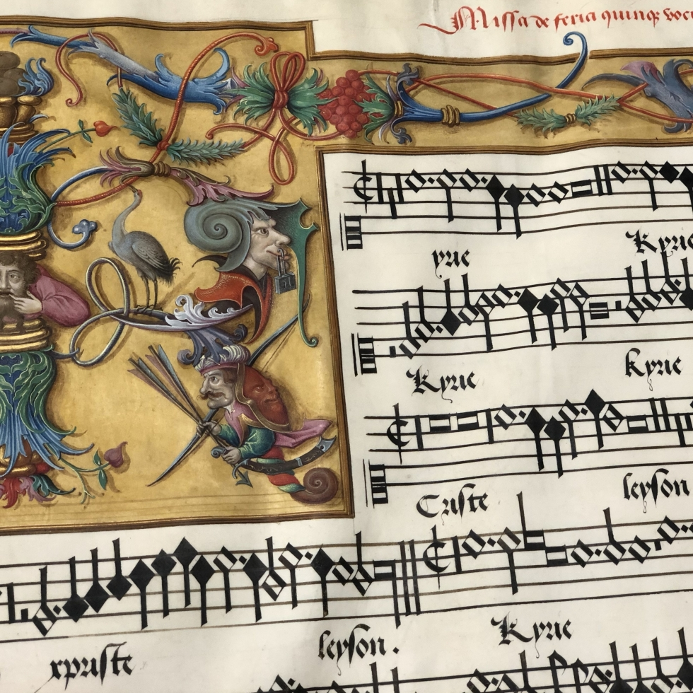 Decorative border with grotesques and snail musicians accompanying Missa de feria, fol. 66v, JenaU 4. Image courtesy of the author.