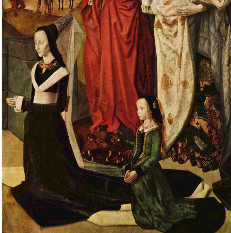 detail of right panel of Maria Portinari and daughter Margarita from Hugo van der Goes, The Portinari Altarpiece, 1476-1478. Oil on wood, 99.6 in × 55.5 in (253 cm × 141 cm). Uffizi Gallery, Florence.