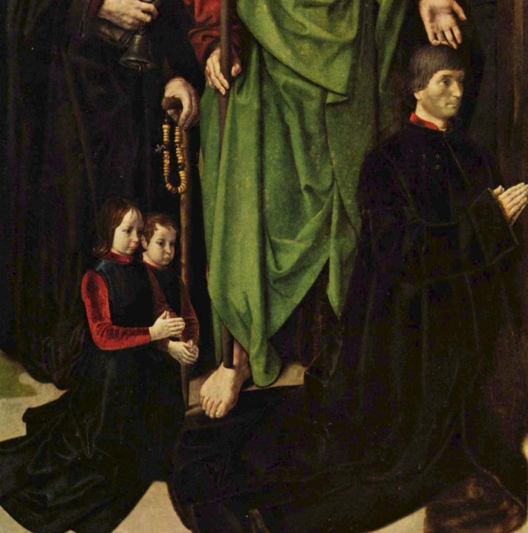 detail of left panel of Tomasso Portinari and with his two sons Antonio and Pigello from Hugo van der Goes, The Portinari Altarpiece, 1476-1478. Oil on wood, 99.6 in × 55.5 in (253 cm × 141 cm). Uffizi Gallery, Florence.
